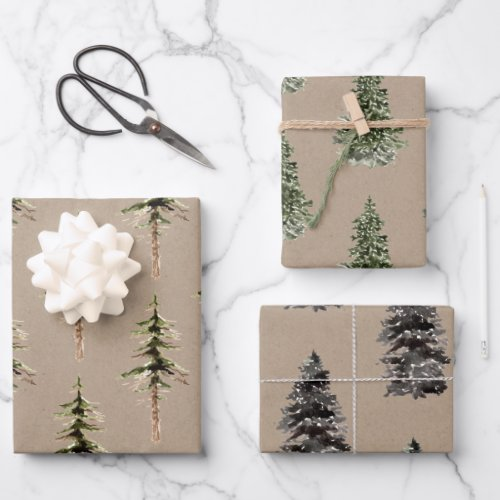 Rustic Kraft Winter Woodland Spruce Trees Wrapping Paper Sheets