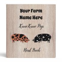 Rustic KuneKune Pig Herd Book 3 Ring Binder