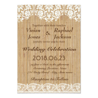 Rustic Lace and Bamboo Mats Wedding Invitation
