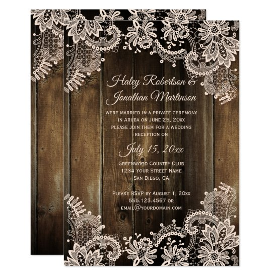 Rustic Lace and Barn Wood Reception Only Invitation