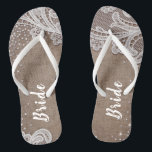 """Rustic lace and burlap silver glitter bride flip flops<br><div class=""""desc"""">Elegant white vintage lace and sparkle silver glitter on rustic burlap background. great bride gifts for bride in rustic wedding,  barn wedding and country wedding. See all the matching pieces in collection.</div>"""