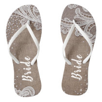 Rustic lace and burlap silver glitter bride flip flops