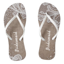 Rustic lace and burlap silver glitter bridesmaid flip flops