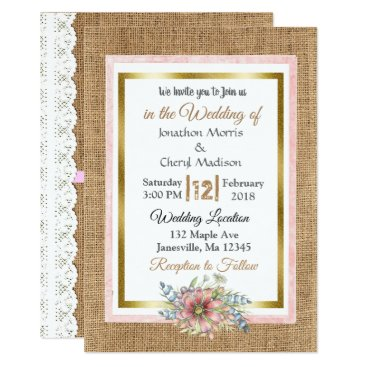 Wedding Themed Rustic Lace and Burlap Wedding Invitation