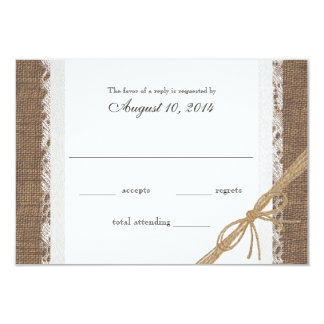 Rustic Lace and Burlap Wedding RSVP 3.5x5 Paper Invitation Card