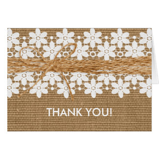 Rustic Lace and Burlap Wedding Thank You Card