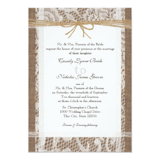 Rustic Lace and Jute Twine Wedding Card