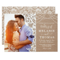 Rustic Lace and Kraft Photo Wedding Invitation