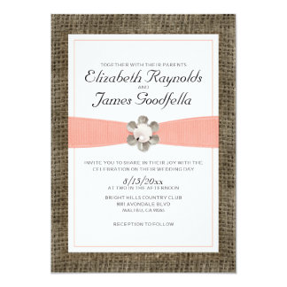 "Rustic Lace and Pearl Wedding Invitations 5"" X 7"" Invitation Card"