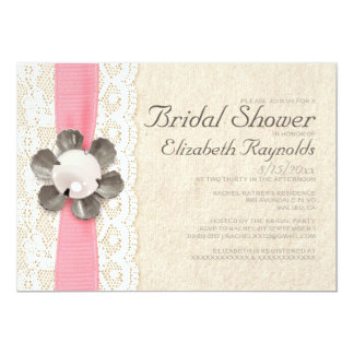 "Rustic Lace and Pearls Bridal Shower Invitations 5"" X 7"" Invitation Card"