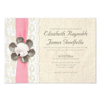 "Rustic Lace and Pearls Wedding Invitations 5"" X 7"" Invitation Card"