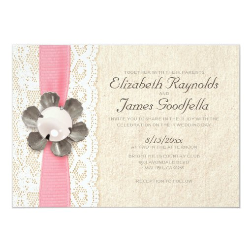Rustic lace and pearls wedding invitations zazzle for Pearl wedding invitations