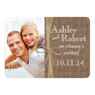 """Rustic Lace and Twine Photo Save the Date 4.5"""" X 6.25"""" Invitation Card"""