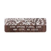 Rustic Lace and Wood wedding Label