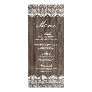 Rustic Lace and Wood Wedding Menu Cards