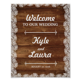 Rustic Lace and Wood Wedding Poster