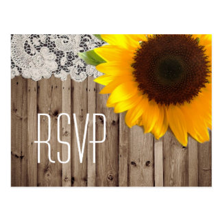 rustic lace barn sunflower country wedding rsvp post cards