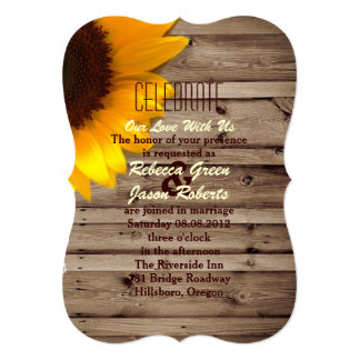 rustic lace barn wood sunflower country wedding card