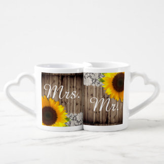 rustic lace barn wood sunflower country wedding coffee mug set