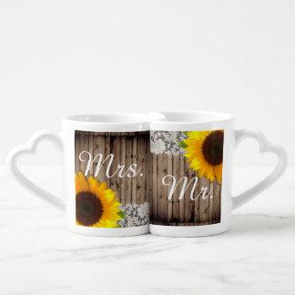 rustic lace barn wood sunflower country wedding coffee mug set
