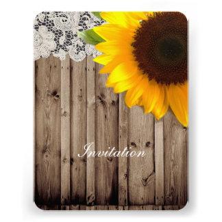 rustic lace barn wood sunflower country wedding custom invitation