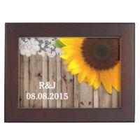 rustic lace barn wood sunflower country wedding keepsake box