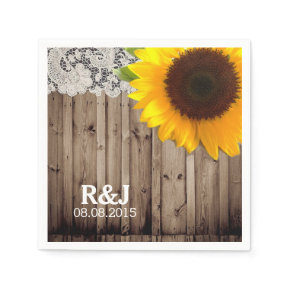 rustic lace barn wood sunflower country wedding standard cocktail napkin
