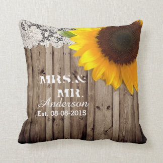 rustic lace barn wood sunflower country wedding throw pillow