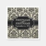 Rustic Lace - Black and Parchment Wedding Paper Napkins