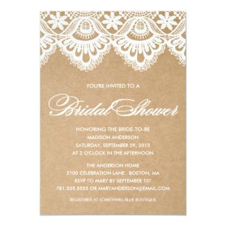 Rustic Kraft Paper and White Lace Bridal Shower Invitations