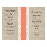 Rustic Lace & Burlap Coral Ribbon Wedding Program