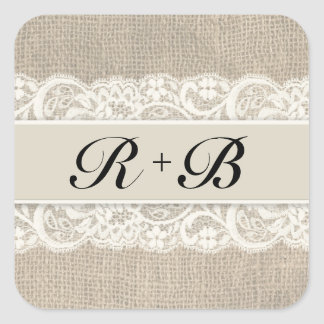 Rustic Lace & Burlap Look Stickers