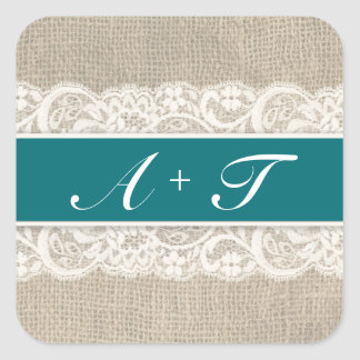 Rustic Lace & Burlap Look Stickers - Oasis