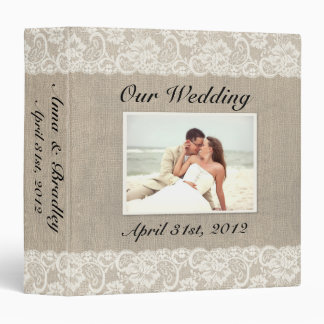 Rustic Lace & Burlap Look Wedding Album Binder