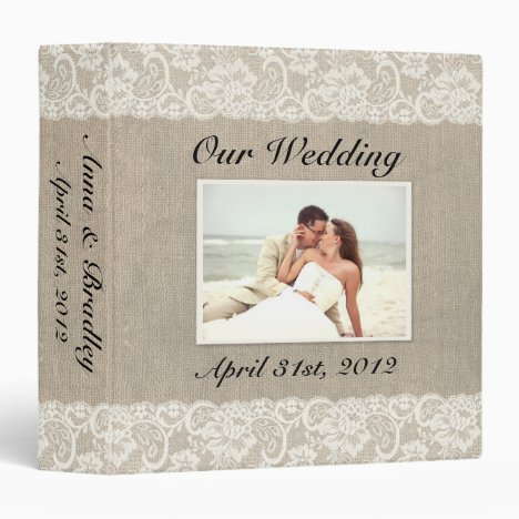 Rustic Lace & Burlap Look Wedding Album Binder