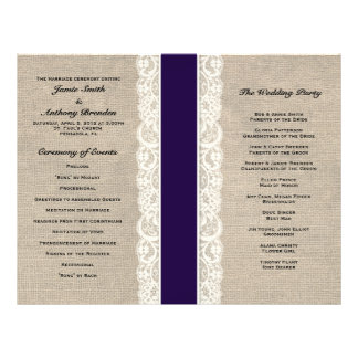 Rustic Lace & Burlap Navy Ribbon Wedding Program