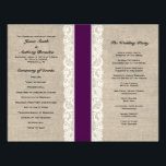 """Rustic Lace &amp; Burlap Plum Ribbon Wedding Program<br><div class=""""desc"""">This custom wedding program is the perfect combination of traditional and trendy. The burlap-look background is perfect for a rustic or vintage themed wedding and the lace-look accent adds a classic, romantic touch. Coordinates with full collection of matching IVORY &amp; plum Save the Dates, RSVP cards, custom postage, and more!...</div>"""