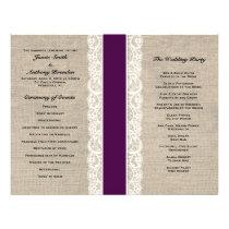 Rustic Lace & Burlap Plum Ribbon Wedding Program