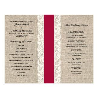 Rustic Lace & Burlap Red Ribbon Wedding Program