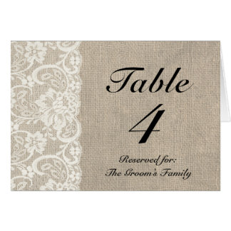 Rustic Lace Burlap Table Place Card Holder