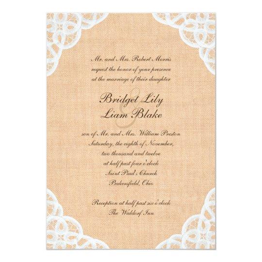 Rustic Lace & Burlap Wedding Invitation
