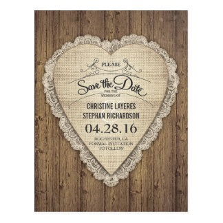 rustic lace burlap wood heart save the date postcard