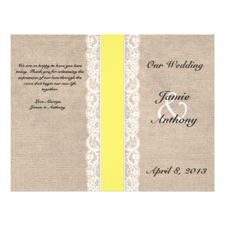 Rustic Lace & Burlap Yellow Ribbon Wedding Program