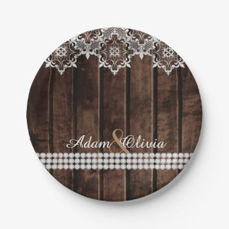 Rustic Lace & Diamonds Wedding Paper Plate