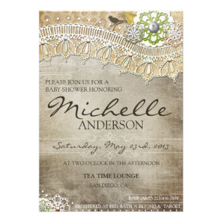 Rustic Lace Distressed BABY Shower Invite