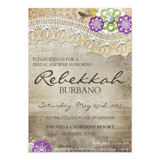 Rustic Lace Distressed Bridal Shower Invite