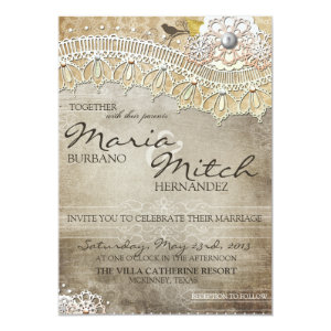 Rustic Lace Distressed Wedding Invitation