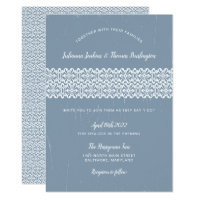 Rustic Lace Dusty Blue Wedding Celebration invite