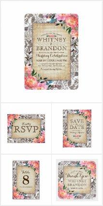 Rustic Lace Floral Vintage Invitation Suite