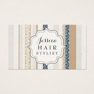 Rustic Lace Hair Stylist Business Cards